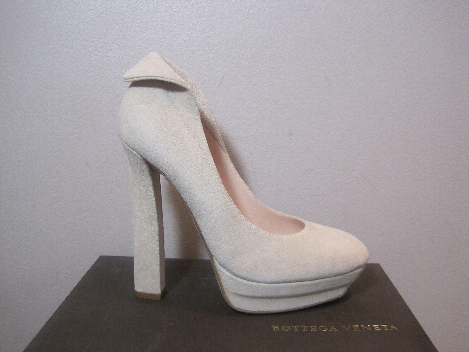 Bottega Veneta Petal Pink Suede Platform Pumps Shoes  720 40.5 10.5