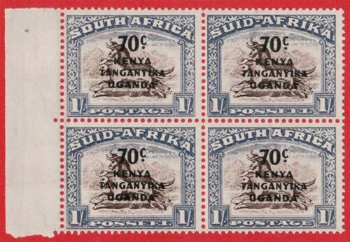 KENYA, TANGANYIKA, UGANDA 1941 70c ON 1s BROWN AND CHALKY BLUE SG154 BLOCK OF 4