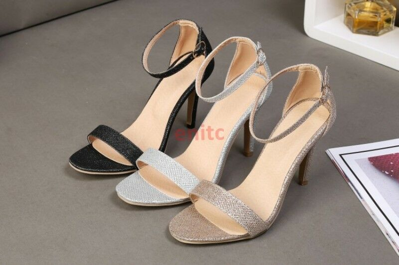 2019 Roman Open Toe Stiletto Ankle Strap Pu Women Sandals High Heels shoes Size