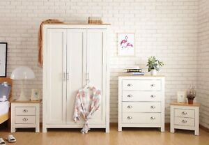 Bedroom-Furniture-2-3-Door-Wardrobe-Bedside-Table-Chest-of-Drawer-White-Grey-set