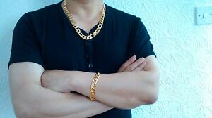 Polymere-Protection-Plaque-or-Chaine-Figaro-24-034-Collier-amp-9-034-Bracelet-Ensemble