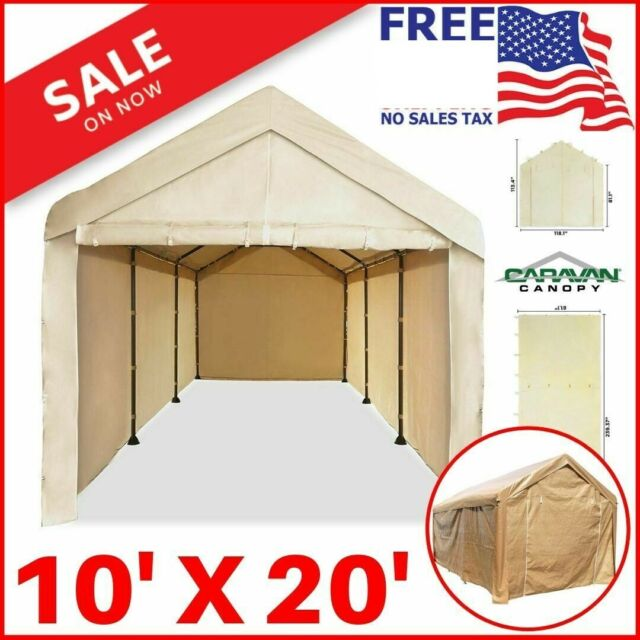 quality design 63135 6a703 10X20 Garage Carport Car Shelter Sidewall Kit Canopy Cover Enclosure Tan no  roof