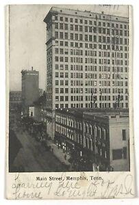 Main-Street-Memphis-TN-Tennessee-Black-amp-White-Vintage-1900-039-s-Postcard