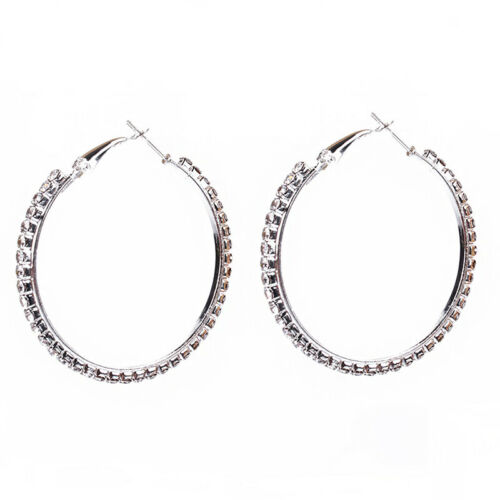 Para mujer de aro redondo círculo Gota Diamante de Imitación Oreja Aretes Moda Joyería CB