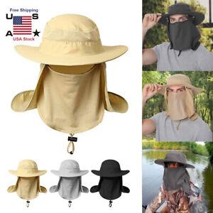 Snap-Hat-Brim-Ear-Neck-Cover-Sun-Flap-Cap-Visor-Fishing-Hiking-Garden-Outdoor-US