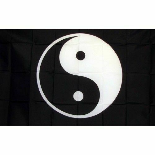 Ying Yang Flag Banner Sign 3/' x 5/' Foot Polyester Grommets Black White