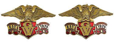 """Right / Left emblem set, eagle with banner """"Est. 1975 GW"""" on gold 4"""""""