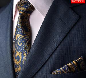 Men/'s Orange flower Tie /& Hanky Handkerchief Pocket Square Set