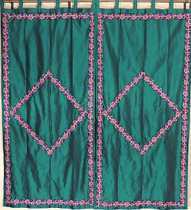 Trellis-Embroidery-Pine-Green-Curtains-2-Faux-Dupion-Window-Fashion-Panels-82-034