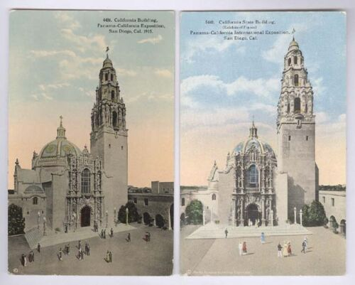 PAN CALIF EXPO SAN DIEGO 1915 2 OLD UNUSED POSTCARDS OF CALIFORNIA BLD PC7510