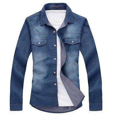 ZC6200 New Men's fashion Luxury Casual Denim Slim Fit Stylish Jeans Shirts