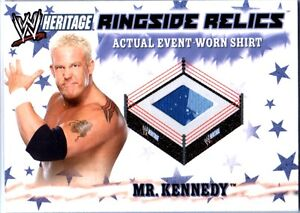 WWE-Mr-Kennedy-3Color-2007-Topps-Heritage-Event-Worn-T-Shirt-Ringside-Relic-Card