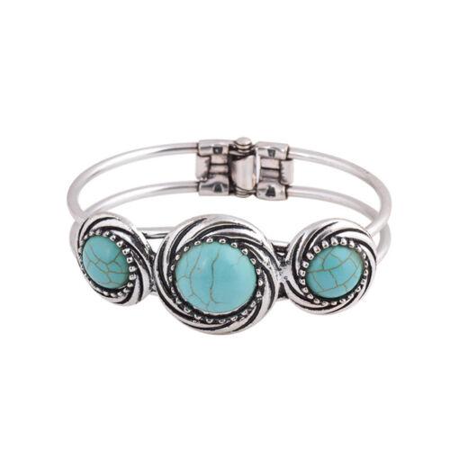 Charme Femme Fashion Natural Turquoise Cuff Bracelet Bangle Bracelet Bijoux Teu