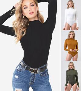Women-039-s-Turtle-Neck-Bodysuit-Long-Sleeve-Solid-Plain-Stretch-Cotton-Knit-Top