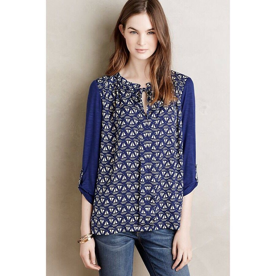 NWT  Anthropologie Meadow Rue Evella Navy bluee Sailboat Ruffle Tie Blouse S
