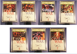 MARVEL-CIVIL-WAR-Complete-9-8-Set-1-7-SIGNED-SEQUENTIAL-NUMBERED-SET-not-cgc