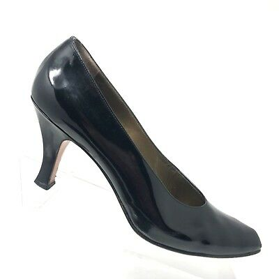 c9d3ebbeaa6 Yves Saint Laurent Black Patent Leather Heel Classic Pumps Womens Shoe SIZE  8 N
