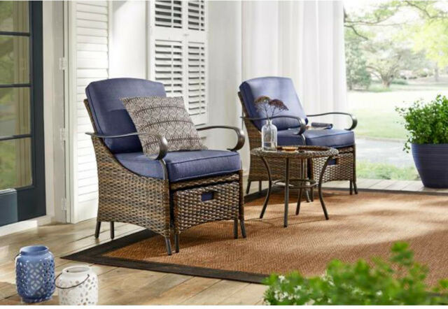 Hampton Bay Outdoor Patio Furniture Set Metal Cushions Steel Frame Welted Brown