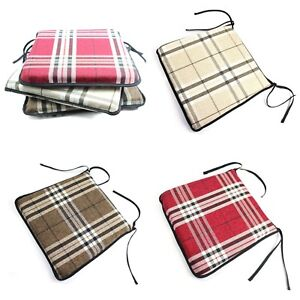 Image Is Loading Tartan Chair Cushion Dining Room Seat Pad Removable