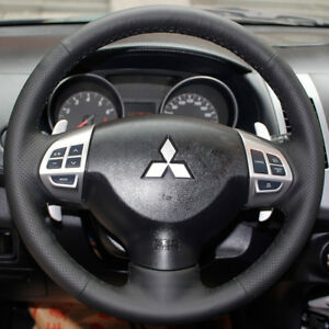 Leather-Steering-Wheel-Hand-stitch-on-Wrap-Cover-For-Mitsubishi-Lancer