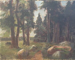 Andre-borne-1868-Oil-painting-forest-clearing-Signed-Romantics-France-HiQ