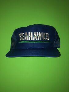 Vintage-Sports-Specialties-Seattle-Seahawks-Spellout-Snapback-Mesh-Hat-NWOT