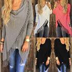 Damen Asymmetrisch Fransen Cardigan Poncho Cape pullover Pulli Sweater Shirt Top