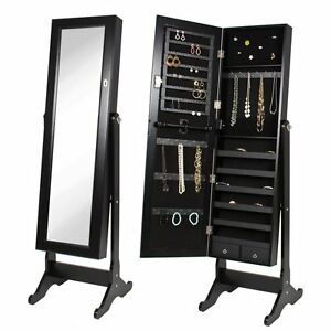 Image Is Loading NEW Full Length Mirror Jewelry Storage Armoire Tilting