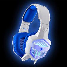 Sades SA-806 Blue White 3.5mm USB LED Light Gaming Headphones Headset with MIC