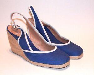 SERGIO-ROSSI-Blue-Canvas-White-Leather-Trim-Wedge-Sandals-Women-039-s-Sz-9