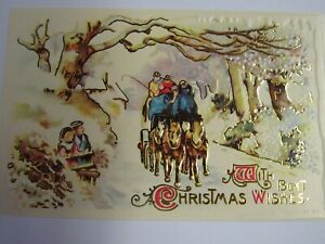 Shackman Antique Reproduction Christmas Postcard With Best Wishes