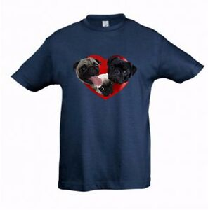 Pugs in a Heart Cute Kids Dog-Themed Tshirt Childrens Tee Check Measurements