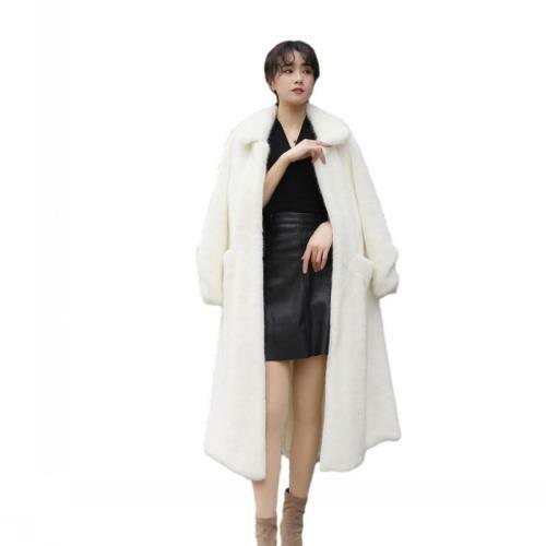 Winter Warm Faux Mink Fur Mid Long Coat Women's Thicken Jacket Trench Overcoat L