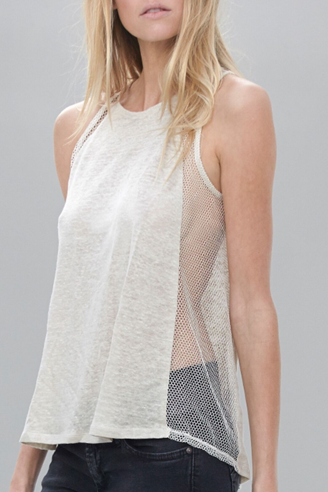 NWT Hrar Side Net Tank XS sheer clubbing made in USA