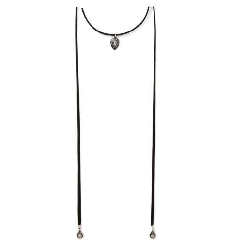 Gothic Black Velvet Choker Beads Charm Pendant Necklace Boho Long Chain