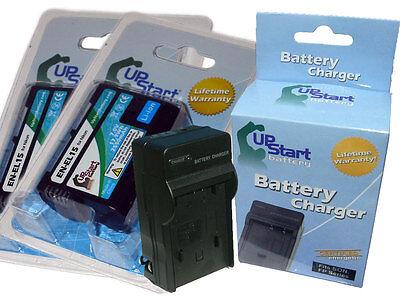 2x Decoded Battery + Charger for Nikon EN-EL15 D600 D800 D800E D7000 1 V1 MH-25