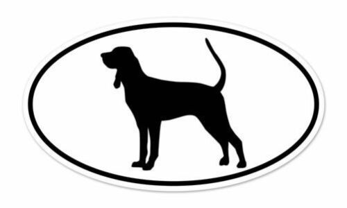 "Black And Tan Coonhound  Dog Breed Shape Oval car window bumper vinyl sticker 5/"""