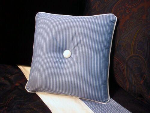 NEW Custom Ralph Lauren Driver Stripe Throw Pillow 1 Button White Piping
