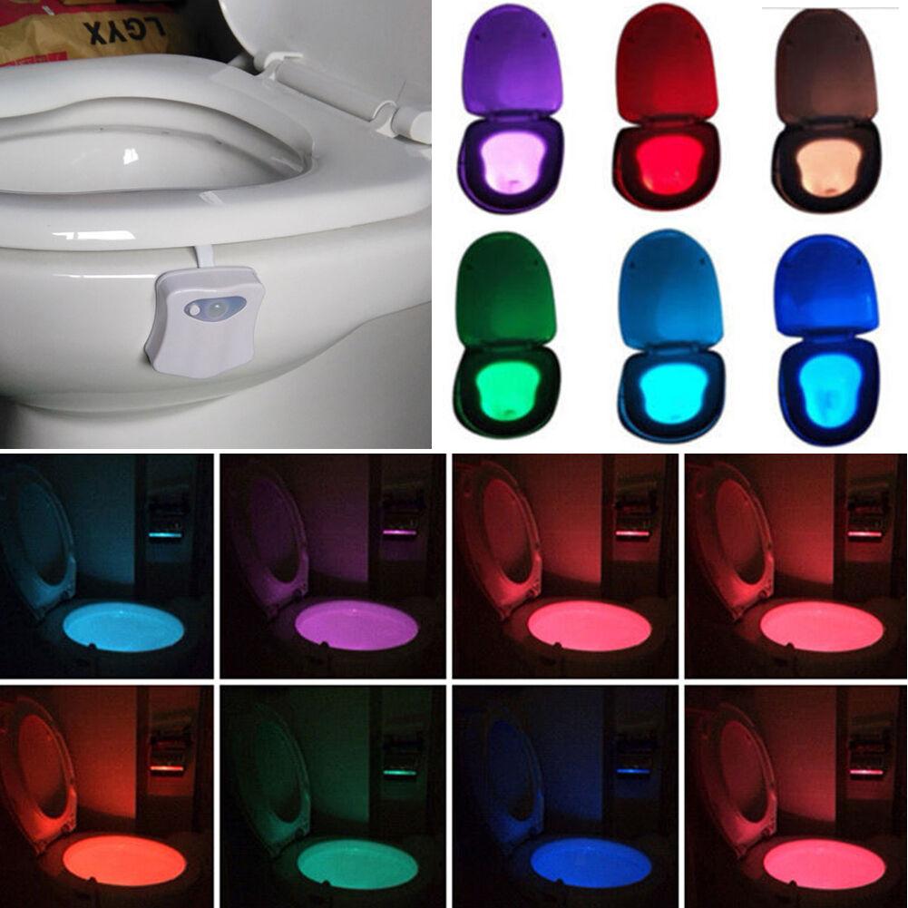 8 colors toilettes led veilleuse lampe capteur mouvement automatique wc lumi re ebay. Black Bedroom Furniture Sets. Home Design Ideas