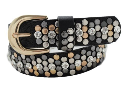 Women Western Belt Black Faux Leather Silver Gold Metal Studs Buckle S M L XL