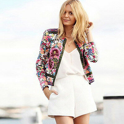 Women Fashion Floral Printed Long Sleeve Blazer Short Club Jacket Coat Outwear