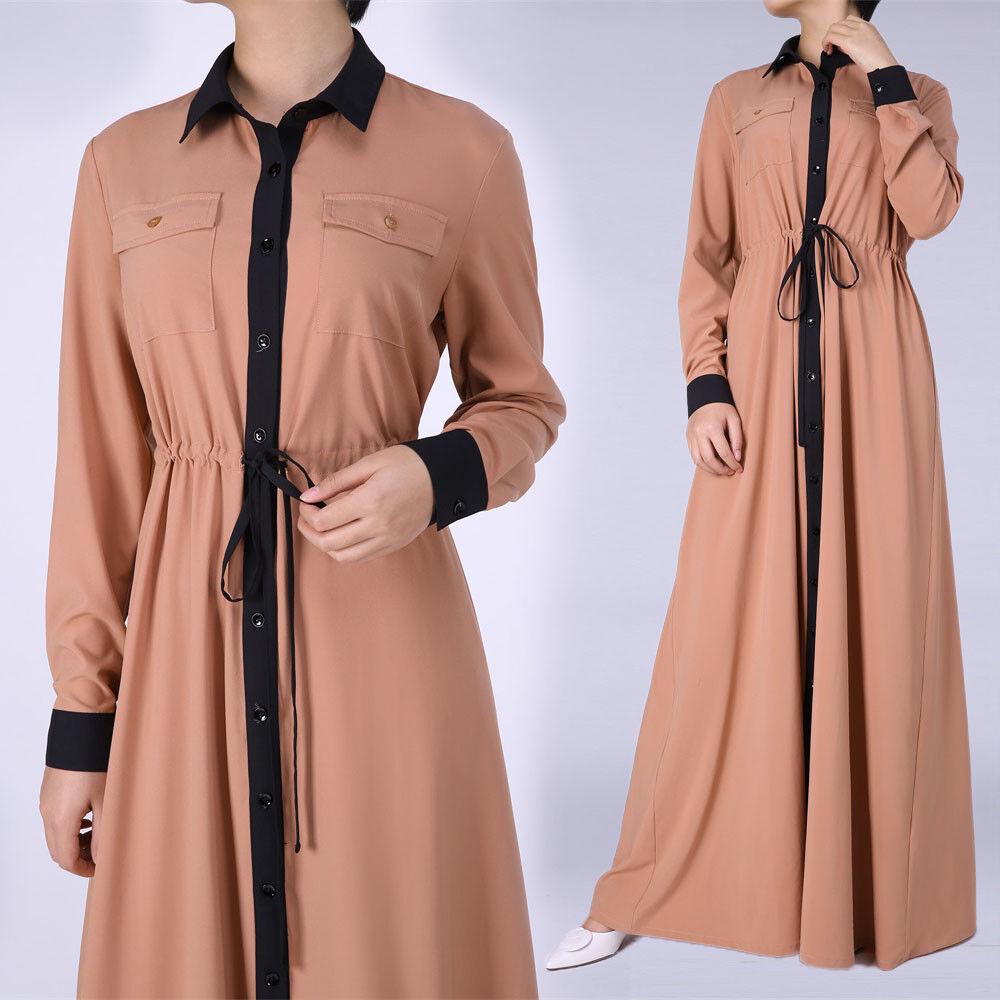 Mode kvinder muslimsk kjole åben front blonder Abaya Kaftan-5927