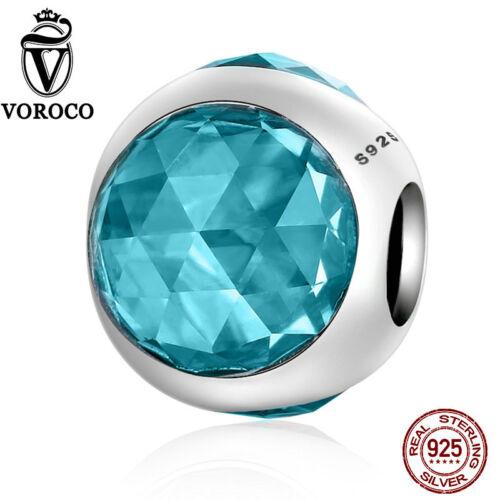 Voroco NOUVEAU Argent Sterling 925 Coloré Charms Perles De Verre Pour Bracelets Bijoux