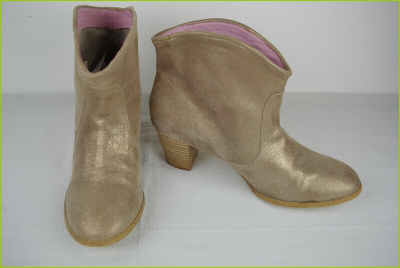 Boots summer LA REDOUTE CREATION Leather golden t 41 TOP CONDITION