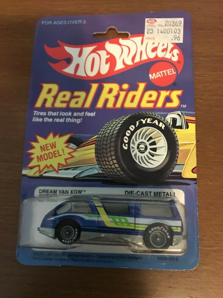 HOT WHEELS  REAL RIDERS DREAM VAN XGW w WHITE HUBS on card. 1983 SUPER RARE