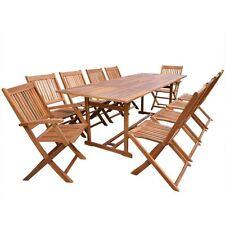 Outdoor Patio Acacia Wood Dining Set 11 Piece Table Chair Deck Garden Furniture