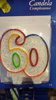 Candeline glitter con 2 basi 60 anni