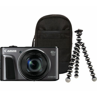 CANON PowerShot SX720 HS Superzoom Compact Camera & Travel Kit Black