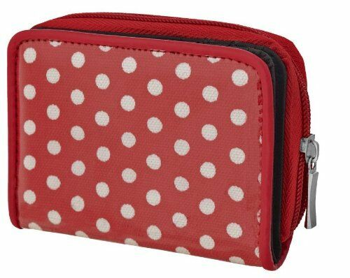 Womens Canvas Zipped Girls Purse Handbag Polka Dot Wallet Light Ladies Bag