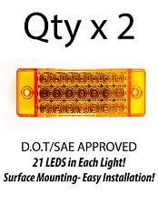 2 - Amber 21 LED Side Marker Clearance Light  Rectangle 12V Truck Trailer Camper